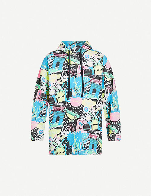 BALENCIAGA: Graphic-print cotton-jersey hoody