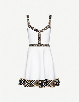 MAJE: Relief geometric-trim stretch-jersey mini dress