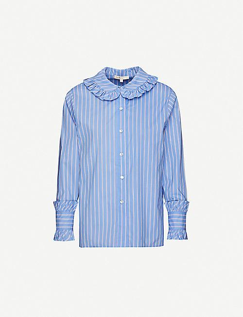 MAJE Calia Peter-Pan collar cotton-poplin shirt