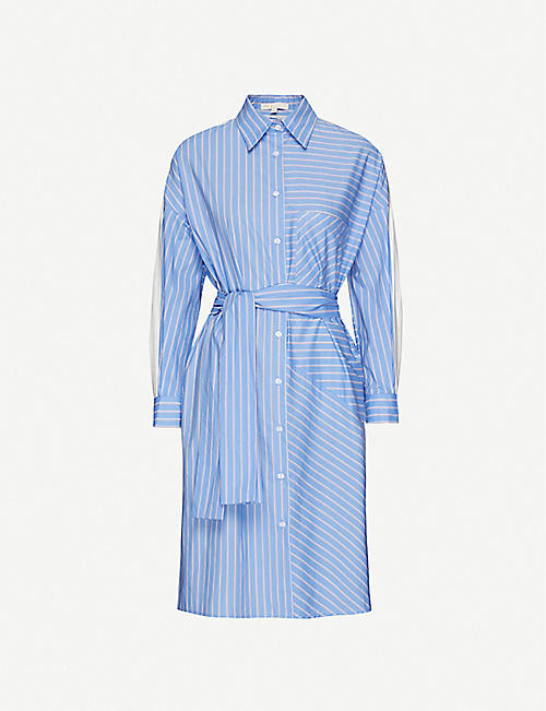MAJE Roxelle striped cotton-poplin dress