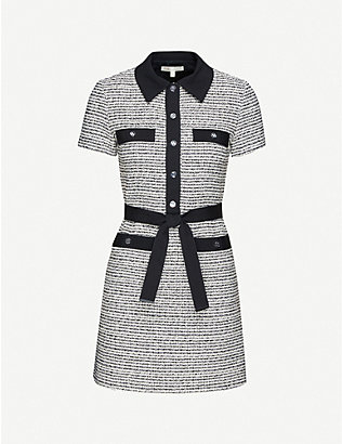MAJE: Renala belted bouclé mini dress
