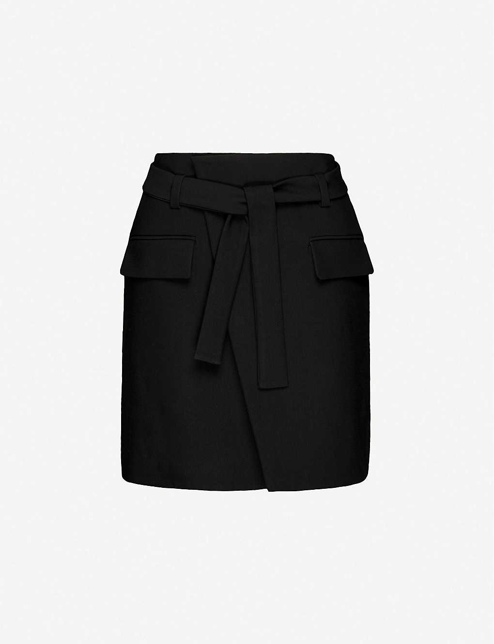 MAJE: Josina wrapover stretch-twill mini skirt