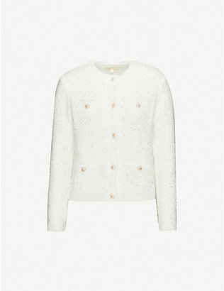 MAJE: Mission sequin-embellished weave knitted cardigan