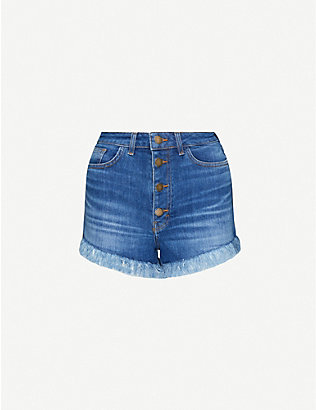 MAJE: Irina fringed high-rise stretch-denim shorts