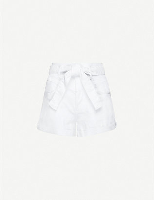 MAJE: Illo belted high-rise stretch-denim shorts