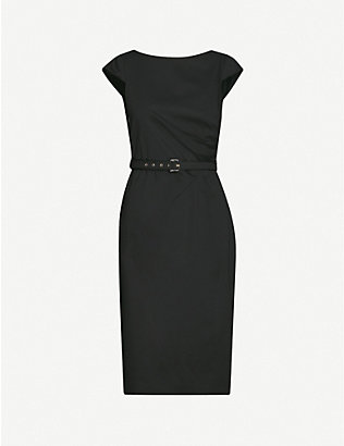 MAX MARA: Neris belted cotton-blend midi dress