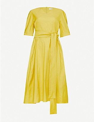 S MAX MARA: Lea belted cotton-blend midi dress