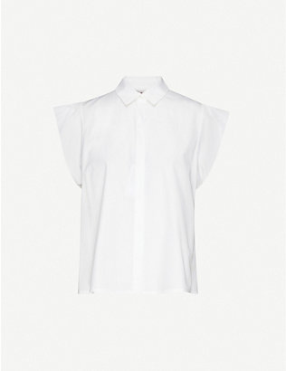 MAX MARA STUDIO: Muscari cap-sleeve cotton-poplin shirt