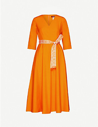 MAX MARA STUDIO: Agrume belted cotton-poplin midi dress