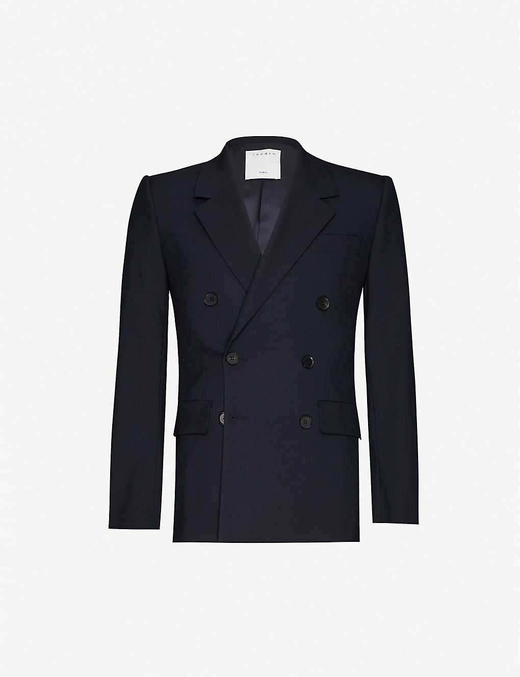 SANDRO: Double-breasted wool blazer