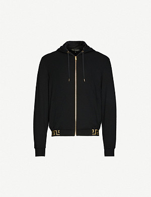 VERSACE Graphic-trim zipped cotton-jersey hoody