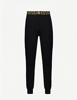 VERSACE: Graphic-trim stretch-jersey jogging bottoms