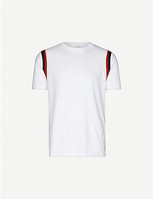 SANDRO: Striped cotton-jersey T-shirt