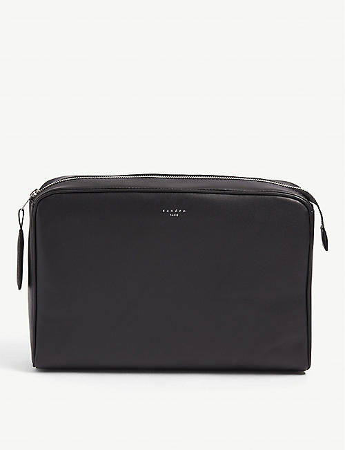 SANDRO Shasa large leather clutch bag