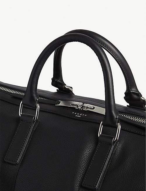 SANDRO Grained leather holdall