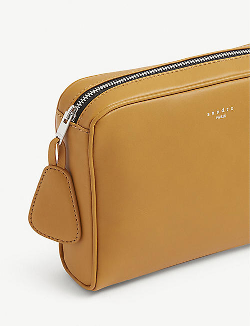 SANDRO Shasa small leather clutch bag