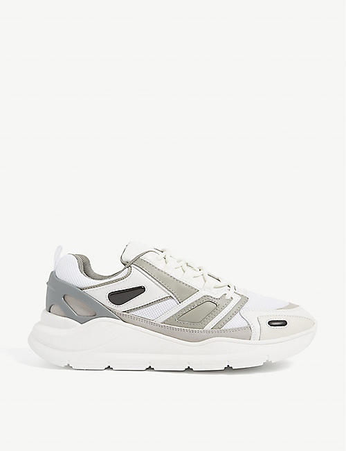 SANDRO: Futura leather and mesh technical trainers