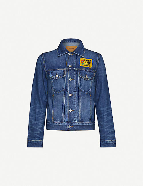 SANDRO Have a Nice Day-patch denim jacket