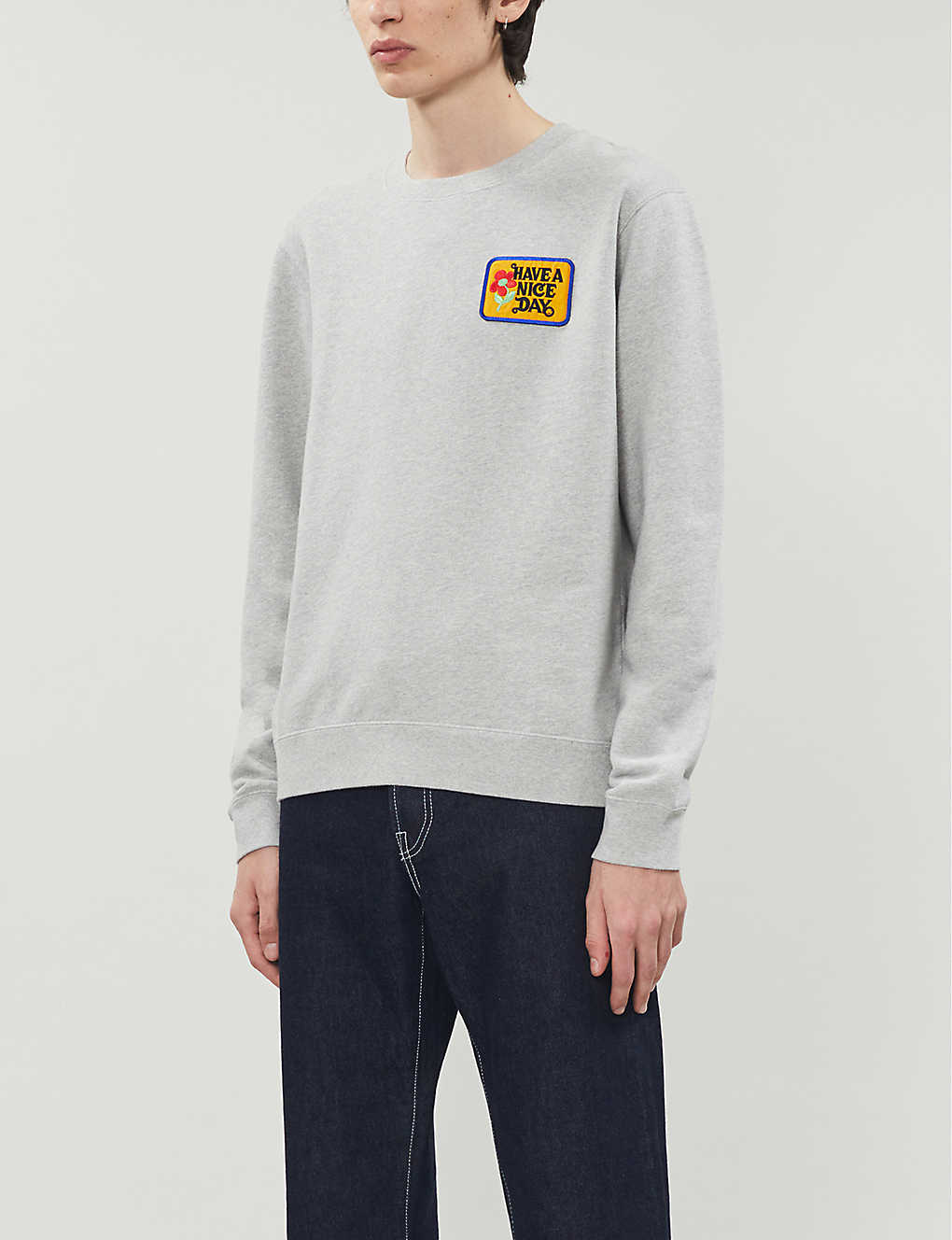 SANDRO: Have a Nice Day-patch cotton-jersey sweatshirt