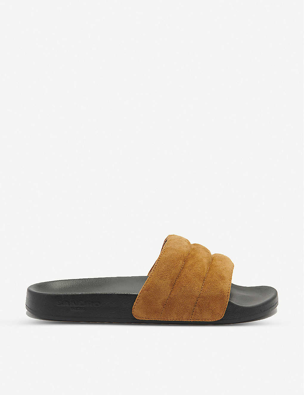 SANDRO: Quilted suede sliders