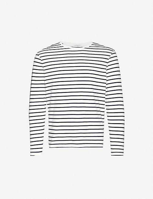 SANDRO: Boat striped scoop-neck cotton-jersey T-shirt