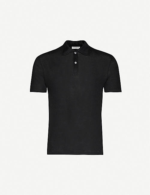 SANDRO: Beach marled regular-fit linen polo shirt
