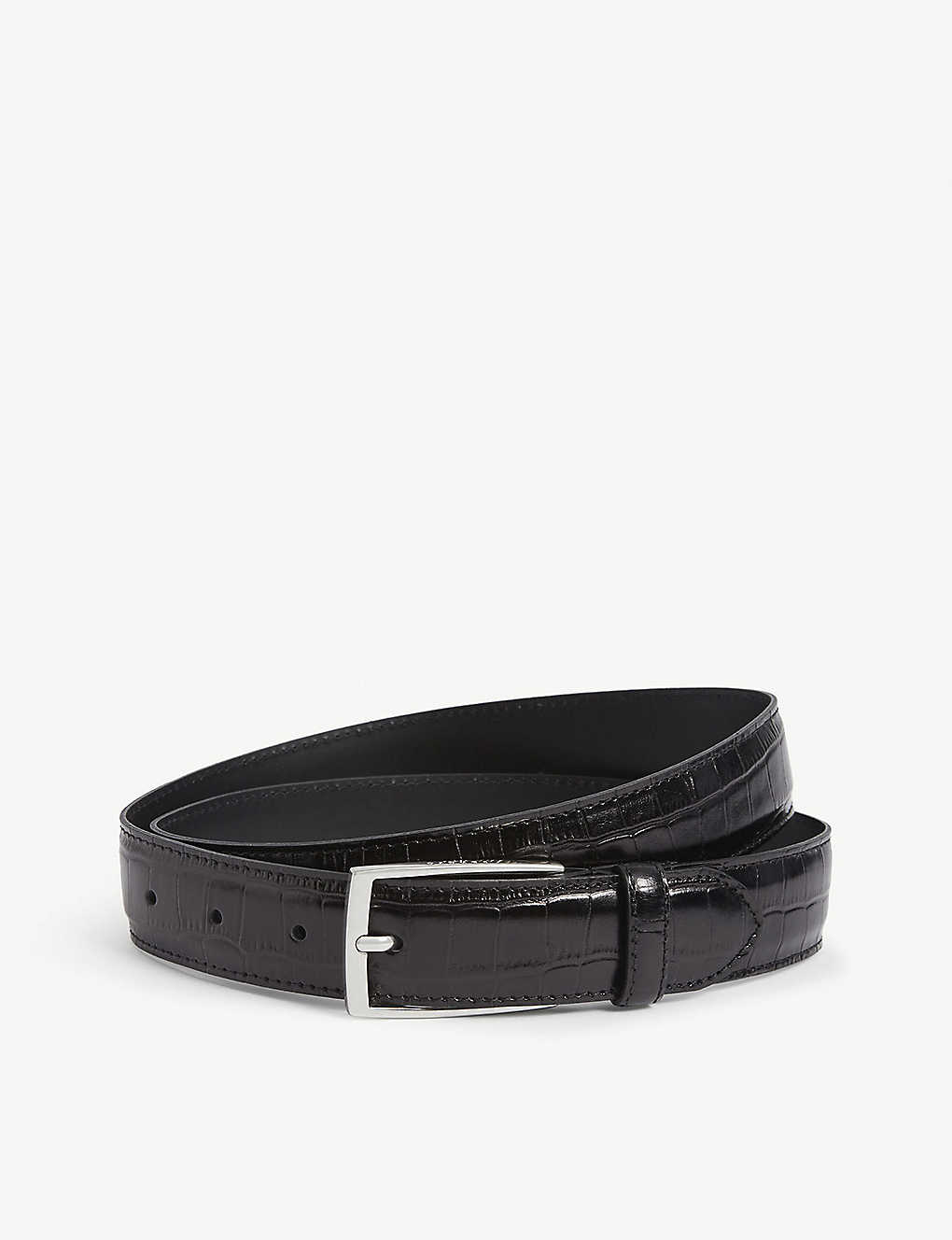 SANDRO: Croc-embossed leather belt