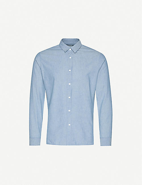SANDRO: Chambray slim-fit cotton shirt