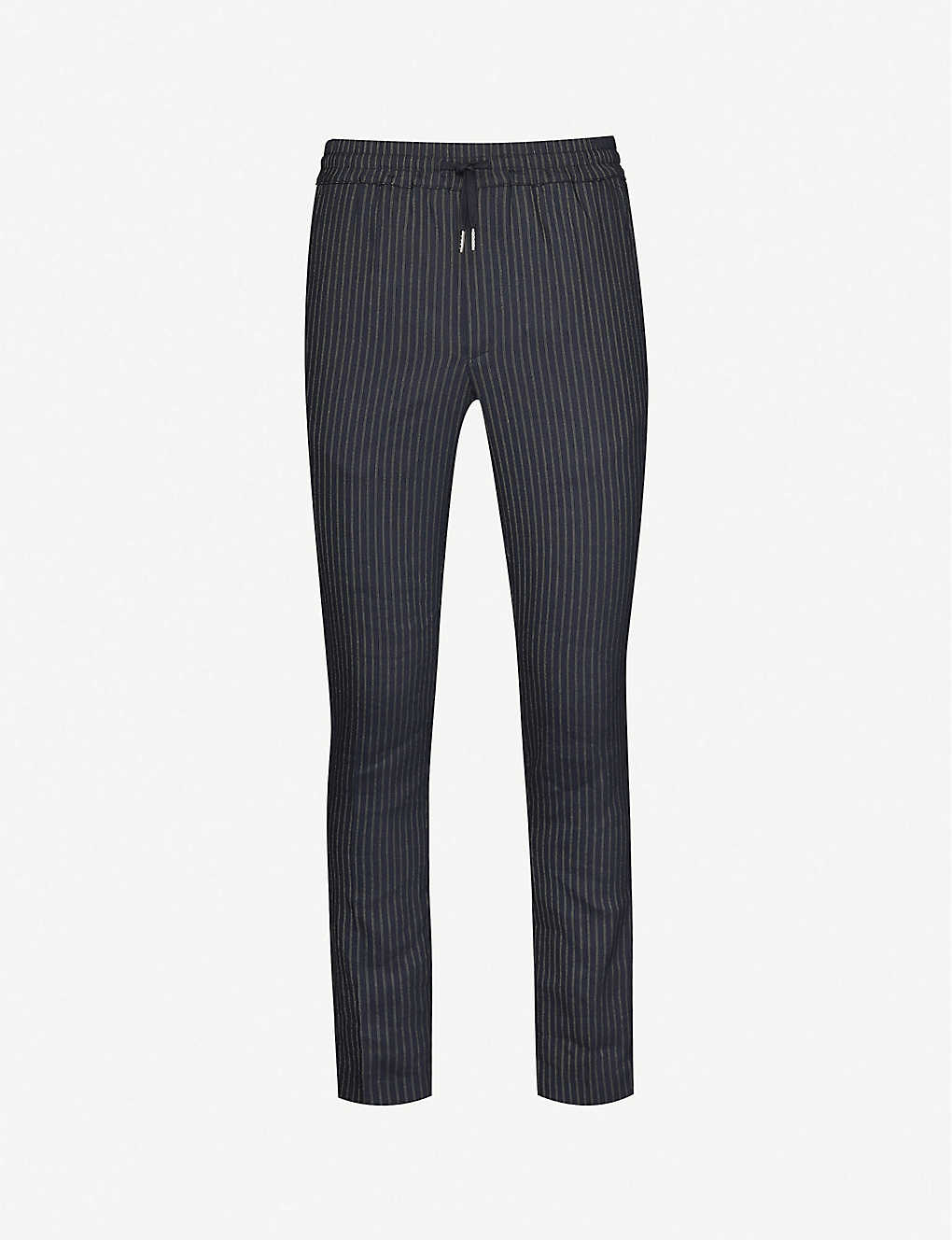 SANDRO: Alpha linen-blend tapered-leg trousers