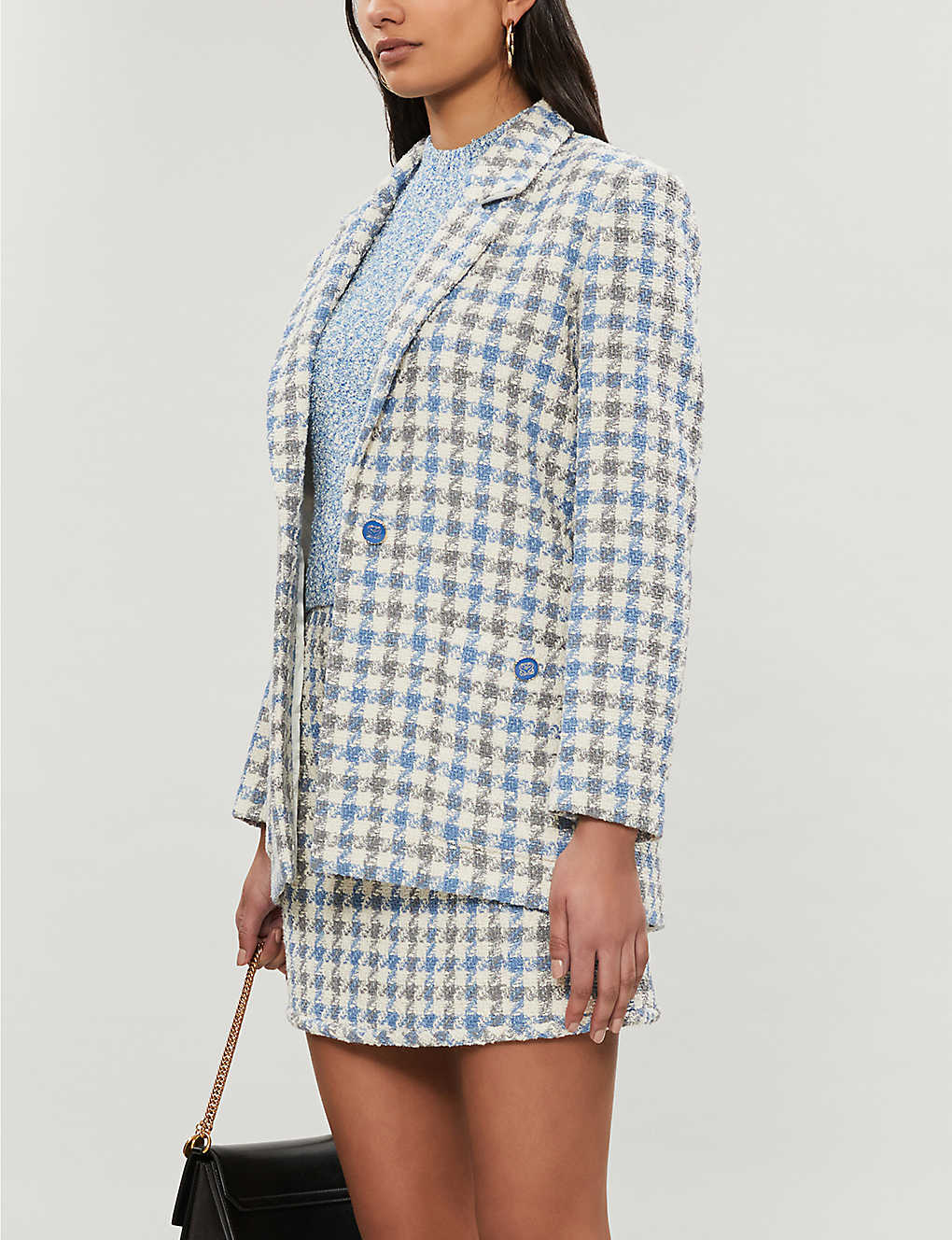 SANDRO: Houndstooth-patterned tweed blazer