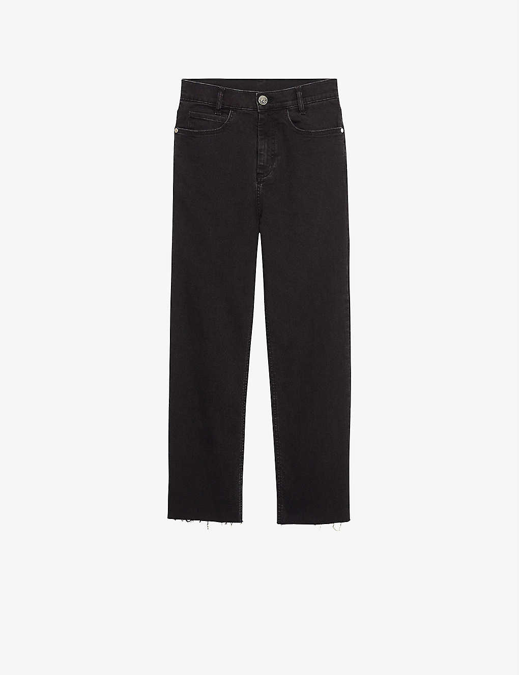 SANDRO: Jayn cropped straight-leg high-rise stretch-denim jeans