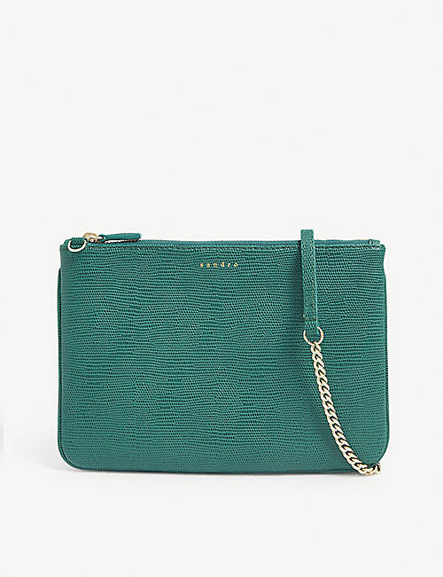 SANDRO Addict croc-embossed leather shoulder bag
