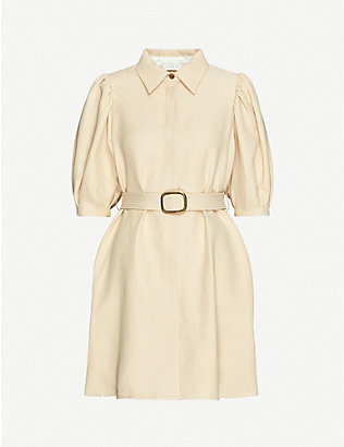 SANDRO: Puffed-sleeves cotton and linen-blend mini dress