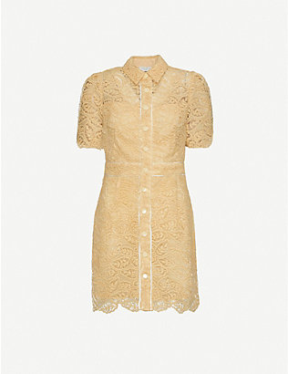 SANDRO: Live embroidered-floral lace mini dress