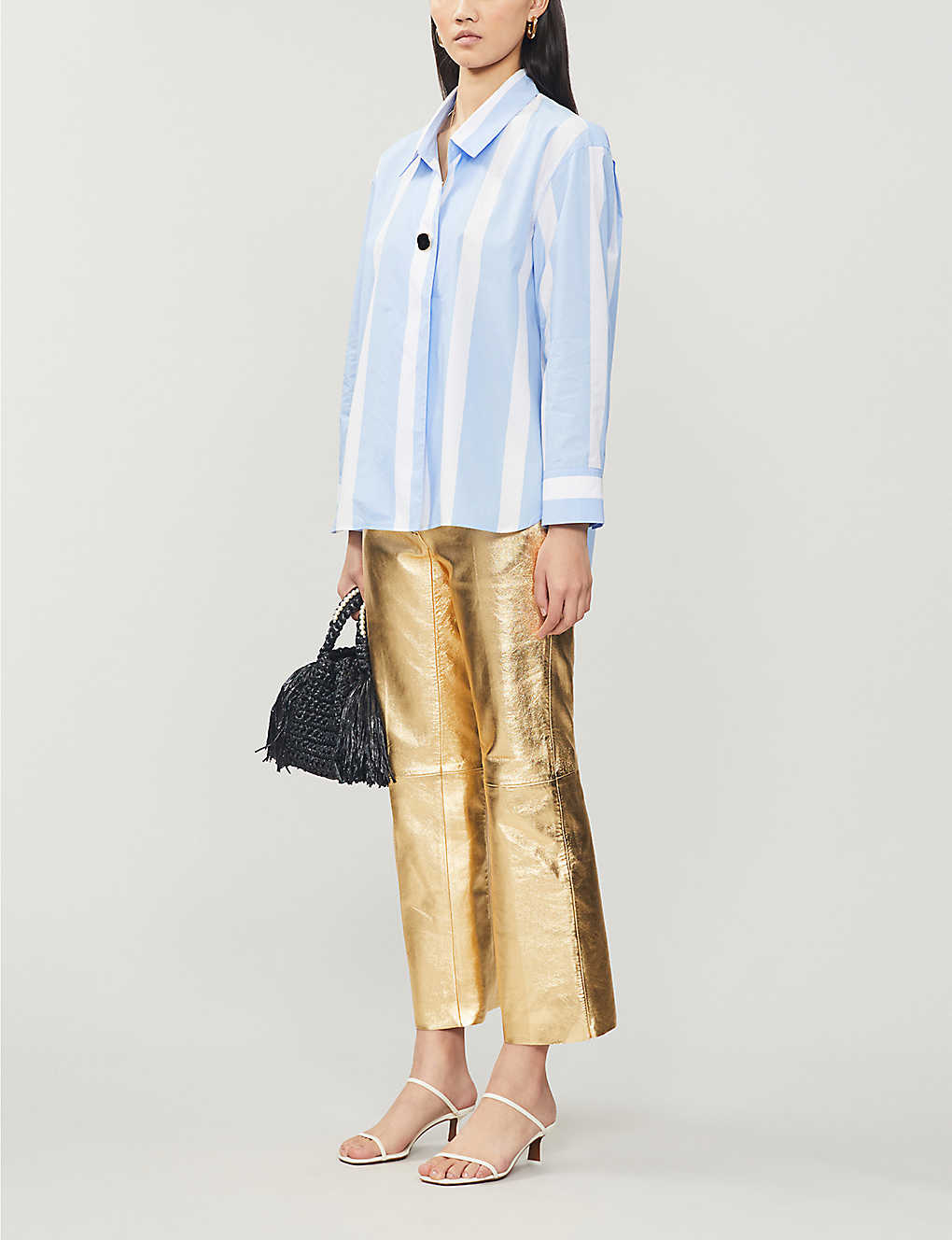 Slim-fit metallic leather trousers - GOLD