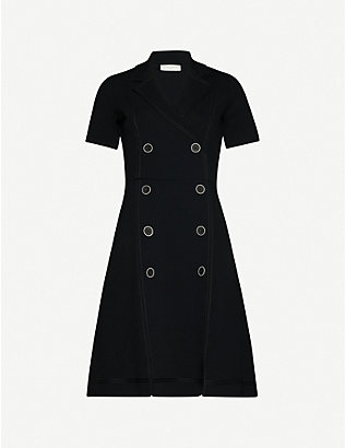 SANDRO: Syana double-breasted knitted midi dress