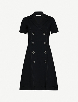 SANDRO Syana double-breasted knitted midi dress