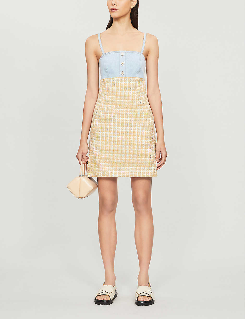 SANDRO: Mina checked denim and tweed dress