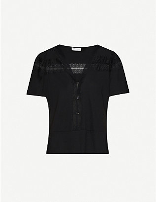 SANDRO: Lace-panel cotton-blend T-shirt