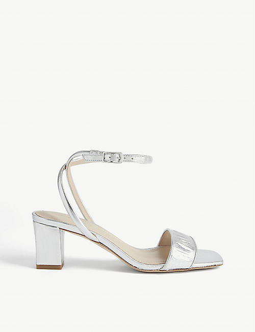 SANDRO: Miana croc-embossed leather sandals