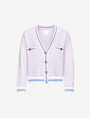SANDRO: Lyna woven contrast-trim cardigan