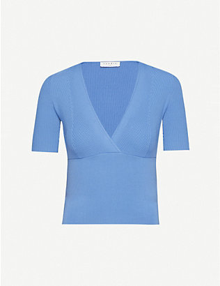 SANDRO: Sheryl stretch-ponté V-neck top