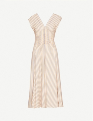 SANDRO Striped woven midi dress