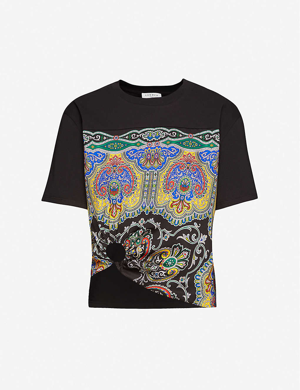 SANDRO: Rayi print cotton-blend T-shirt