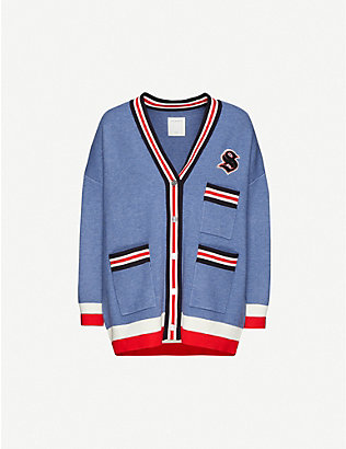 SANDRO: Striped-trim stretch-jersey cardigan