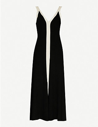 SANDRO: Naten contrast-trim knitted midi dress