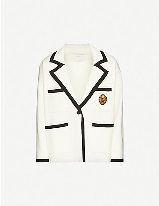 SANDRO: Embroidered-patch stretch-knit jacket