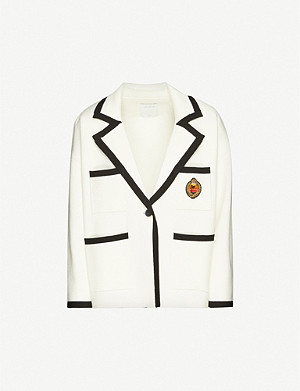 SANDRO Embroidered-patch stretch-knit jacket
