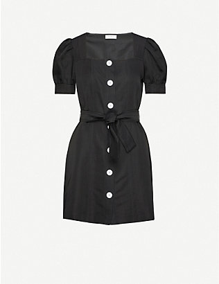 SANDRO: Fira tie-belt woven mini dress