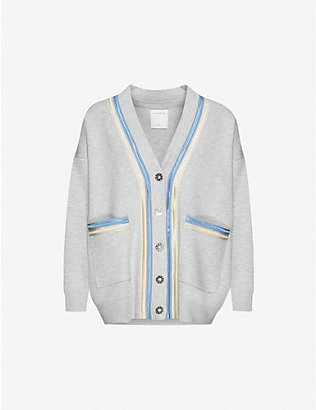 SANDRO: Contrast-tape woven cardigan